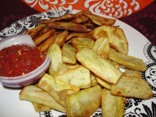fried potato and stew - Traditional nigerian food