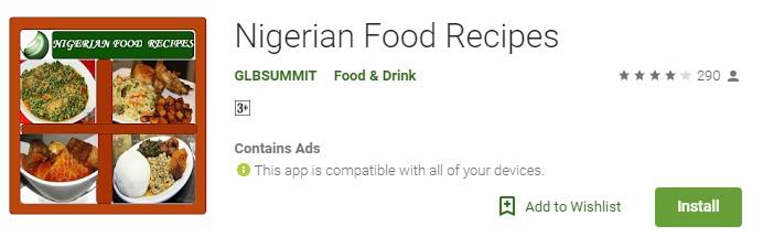 Nigerian food recipe app