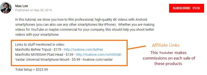 make money on youtube as affiliate
