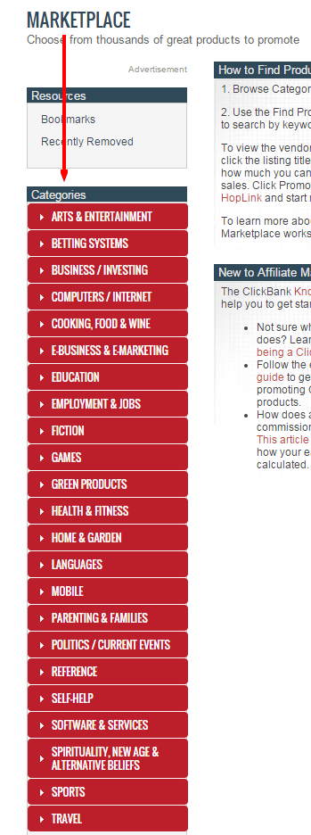 affiliate categories