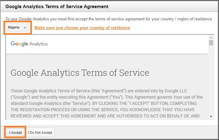 accepting analytics terms