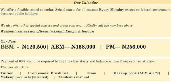 house of tara makeup school tuition fees