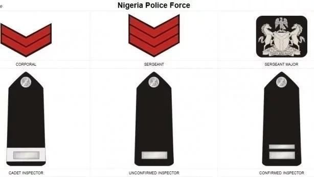 Nigerian police rank and file symbol and promotion badges