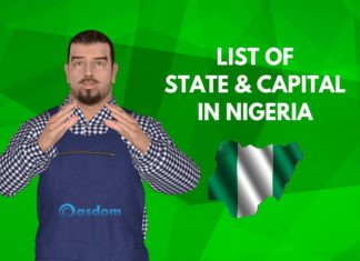 Here's a detailed list of 36 State and capital in Nigeria. These Nigerian State capitals list comes with map showing the 36 states and the Federal Capital Territory Abuja. Abia -Umuahia, Adamawa-Yola, Akwaibom-Uyo, Anambra-Auka, and more.
