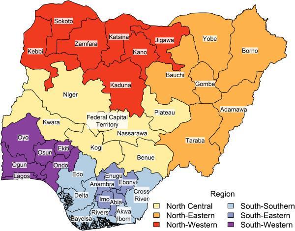 states in Nigeria map - state and capital in Nigeria