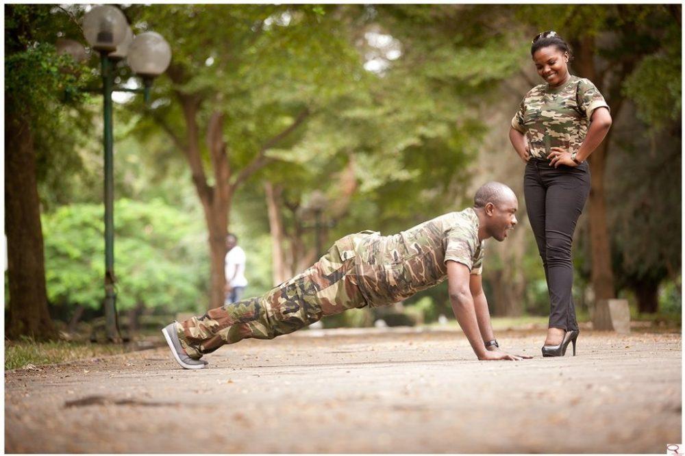 army pre-wedding pics army style