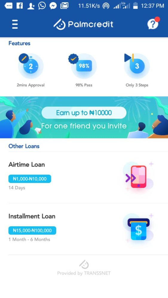 quick loan apps in Nigeria palm credit