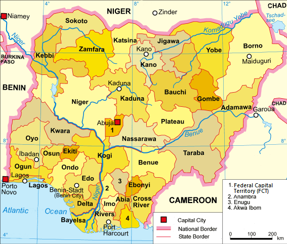 the map of Nigeria with states