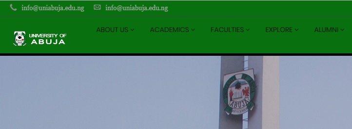 uni abuja official website screenshot