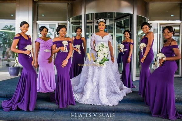 Nigerian wedding purple bridal train color