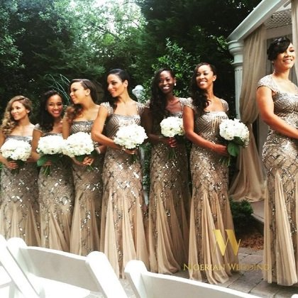 Nigerian wedding sequin bridesmaid dresses