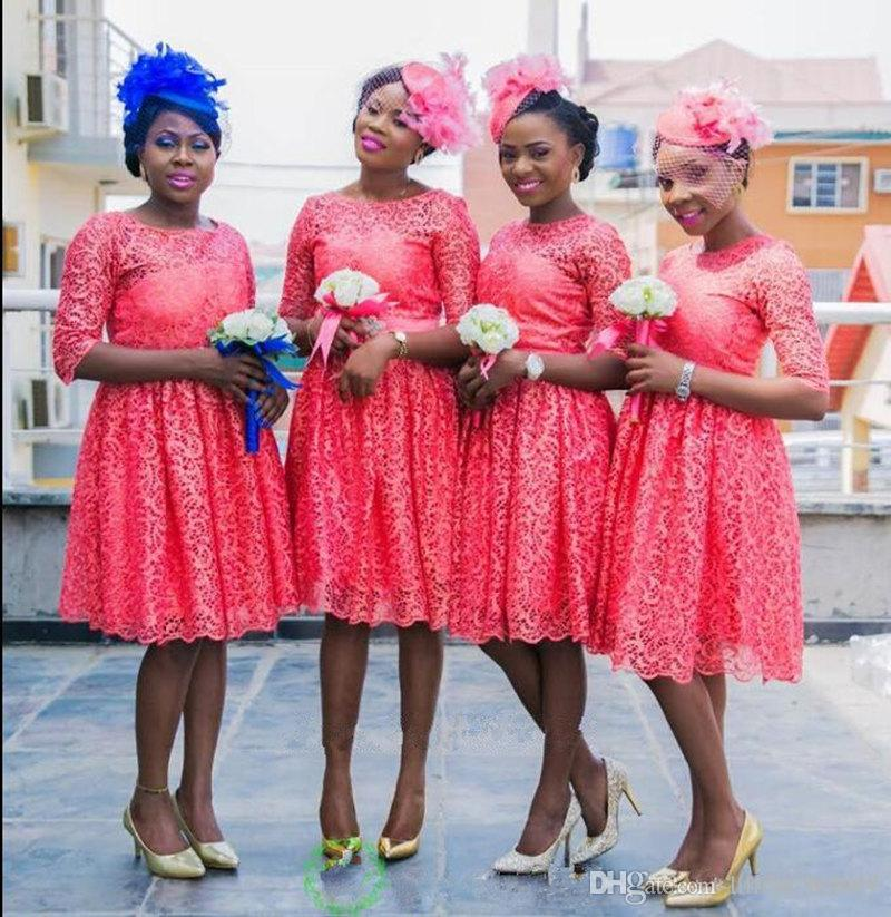 coral lace short bridesmaid dresses in Nigeria