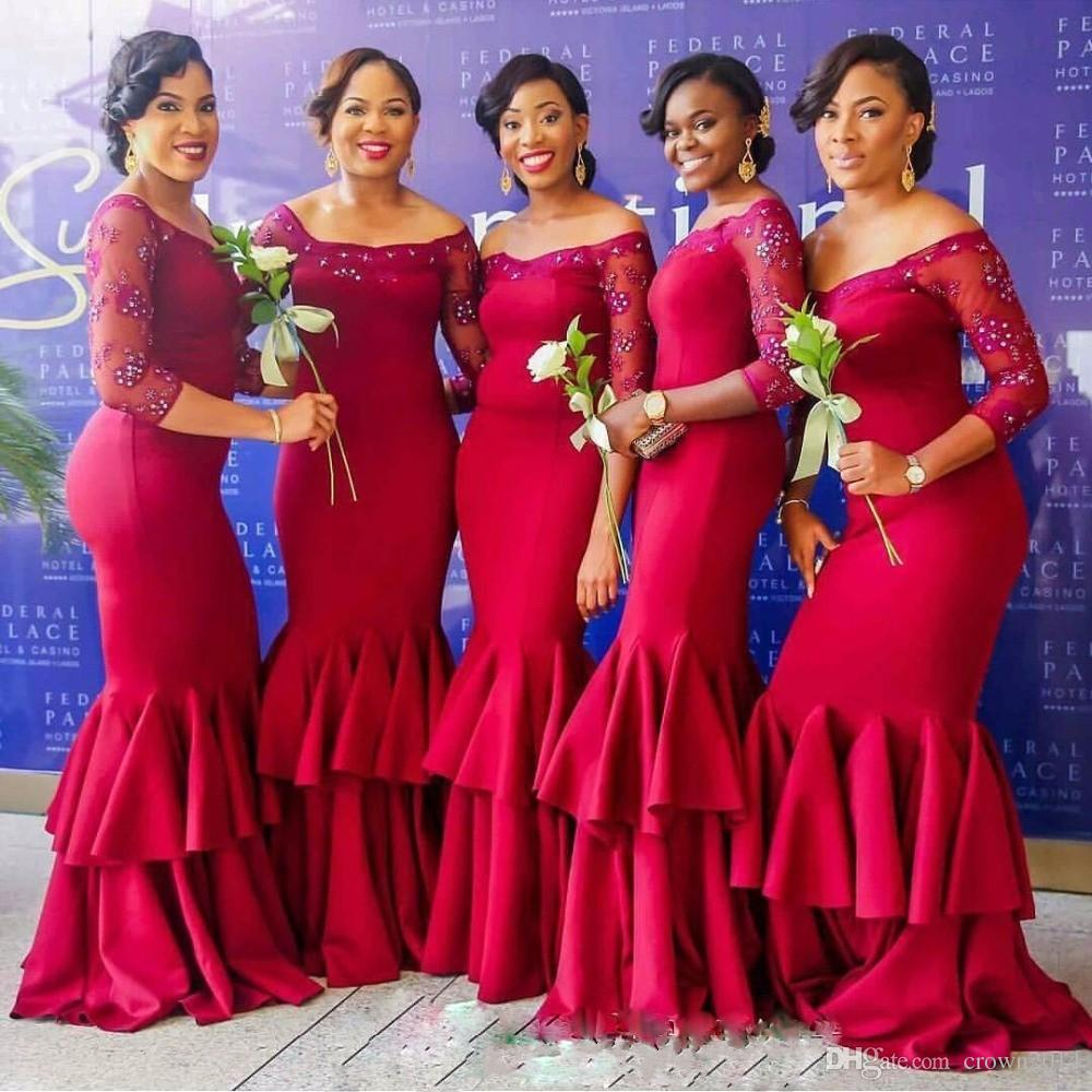 e45fc8d6735 wedding fashion designs. long sleeve bridal style Image by BellaNaija  Weddings. mermaid bridesmaid long sleeve dress. long bridal gown