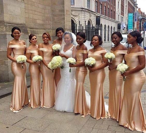 off shoulder sleeveless mermaid satin Nigerian bridesmaid dresses