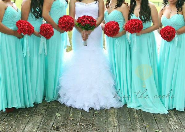 long bridesmaid dress tifanny blue without sleeves
