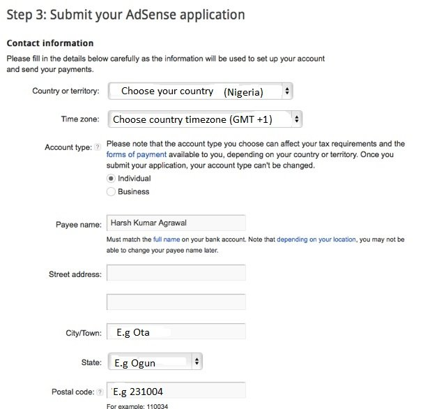 Adsense contact information