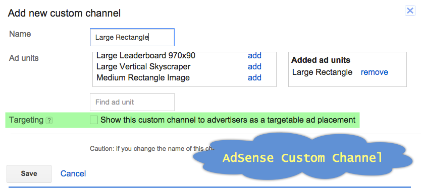 Creating Adsense custom channel