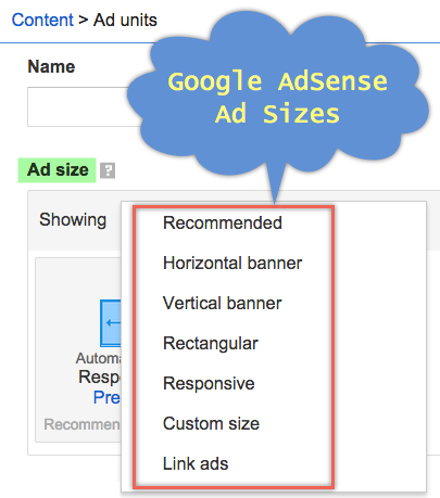 Google Ad sizes - how to create Adsense Ad unit