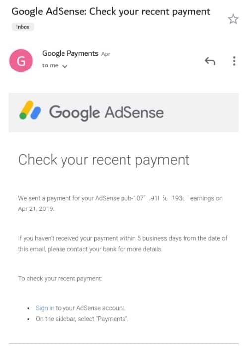 Google adsense earnings email