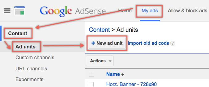 creating adsense ad units
