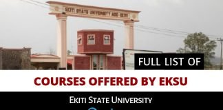 Full list of courses offered by EKSU Ekiti state university ado ekiti