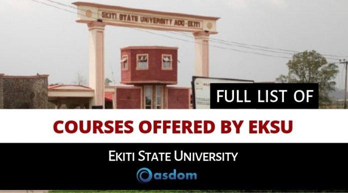 Full list of courses offered by EKSU Ekiti state university ado ekiti
