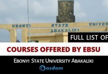 Full List of Courses offered by EBSU - Ebonyi State University Abakaliki