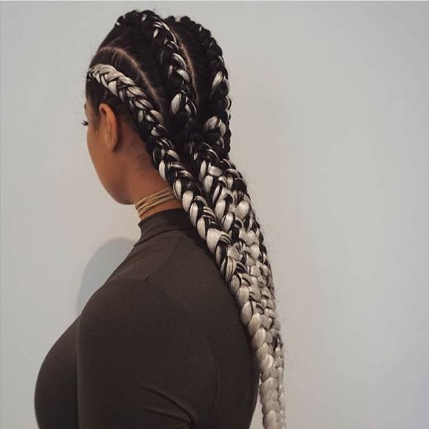 low bun long ghana weaving braid