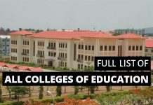 Full list of colleges of education in Nigeria