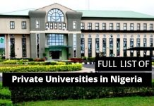 full list of private universities in Nigeria