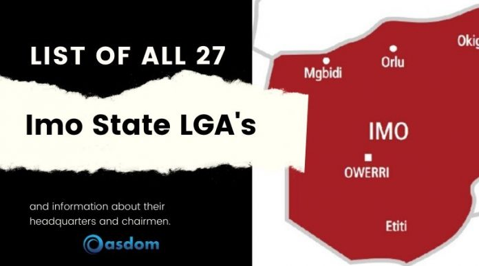 List of 27 local government in imo state Nigeria