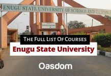 ESUT courses - Enugu State University