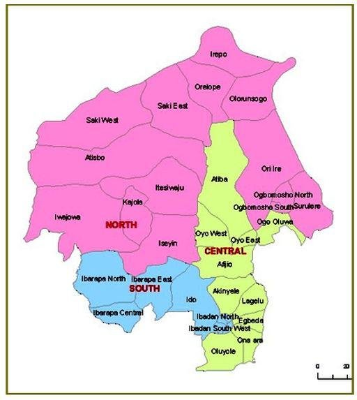 the map of oyo state showing local government areas