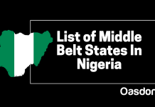 Full list of middle belt states in Nigeria - north central