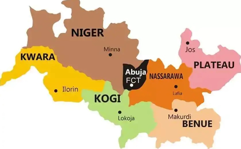 Map of middle belt states in Nigeria