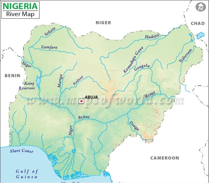major rivers in Nigeria map