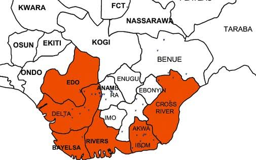 Map of south south states in Nigeria