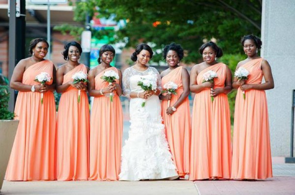 Peach color bridesmaid dresses in nigeria