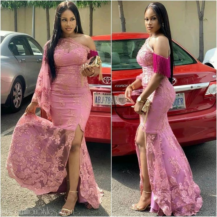 Latest lace styles for ladies - side cut gown