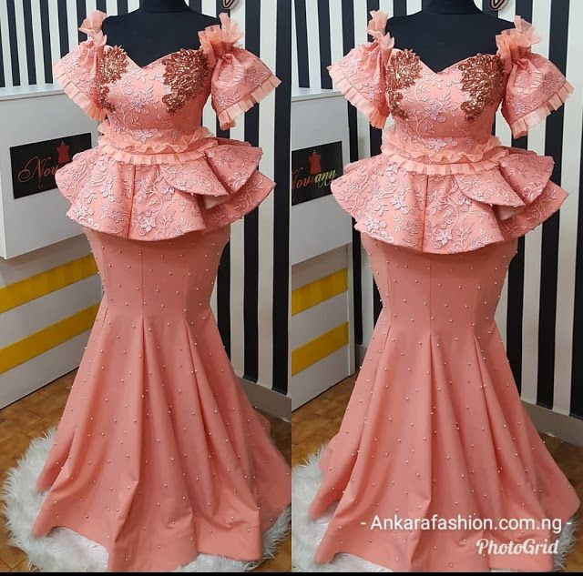 Magenta skirt and blouse lace designs for Nigerian ladies
